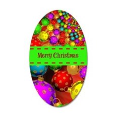 Merry Christmas, Colorful Ch 35x21 Oval Wall Decal