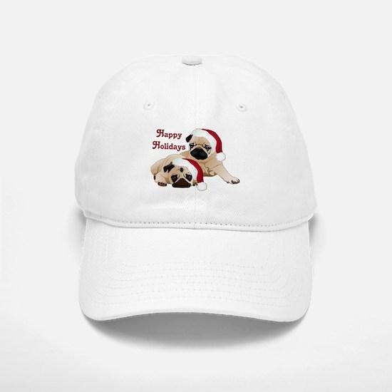 Happy Holidays 2 Pugs Baseball Baseball Baseball Cap