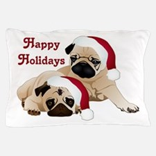 Happy Holidays 2 Pugs Pillow Case
