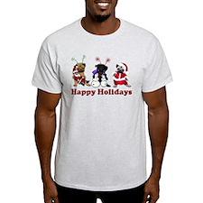 Three Holiday Pugs T-Shirt