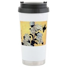 Hydrangeas and Swallow Travel Mug