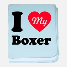 I Heart My Boxer baby blanket