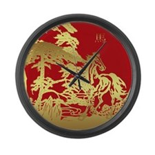 Chinese New Year, Year Of Horse Large Wall Clock