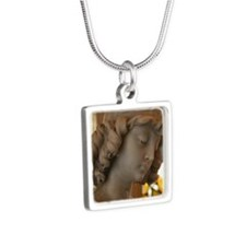 Angel Statue Silver Square Necklace