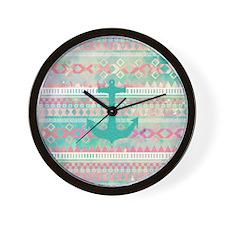 Emerald Nautical Anchor Pastel Watercol Wall Clock