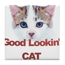Good Lookin' Cat Tile Coaster
