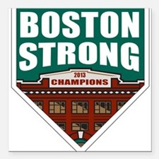 """Boston Strong Home Plate Square Car Magnet 3"""" x 3"""""""