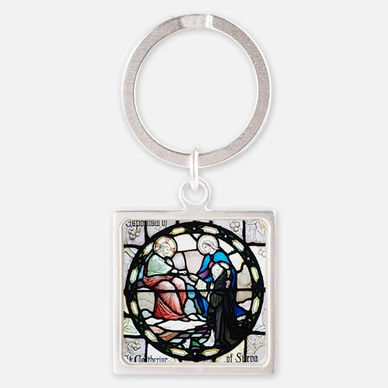St Catherine of Sienna Square Keychain