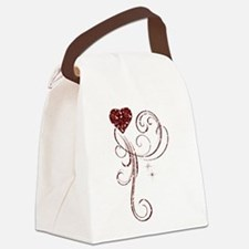 Red Glitter Heart Canvas Lunch Bag