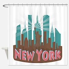 NYC Newwave7 chocolate Shower Curtain
