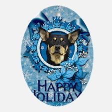 Blue_Snowflake_Australian_Kelpie Oval Ornament