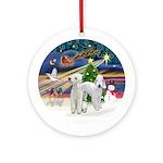 Xmasmagic-2 Bedlington Terriers Ornament (round)