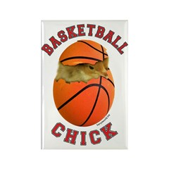Basketball Chick 2 Rectangle Magnet (100 pack)