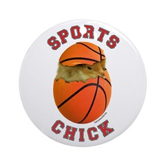 Basketball Chick 3 Ornament (Round)