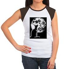 cat-moon-CRD Women's Cap Sleeve T-Shirt