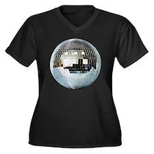 DISCO BALL2 Women's Plus Size Dark V-Neck T-Shirt