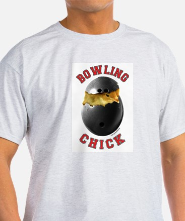 Bowling Chick 2 Ash Grey T-Shirt