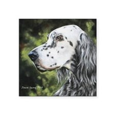 "English Setter by Dawn Seco Square Sticker 3"" x 3"""