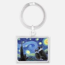 Starry Night hr Landscape Keychain
