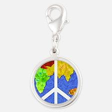 peaceworldornament Silver Round Charm