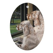 English Setter Puppies Oval Ornament