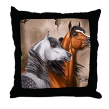 Alert_Arabians Throw Pillow