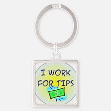 TipsButton3 Square Keychain