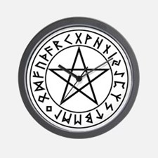 Rune Shield Pentacle Wall Clock