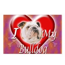 2-I Love My Bulldog Postcards (Package of 8)
