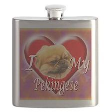 I Love My Pekingese Flask