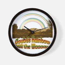 double_rainbow9_transparent Wall Clock