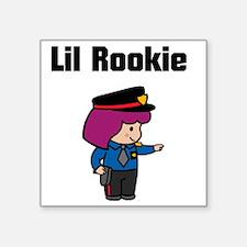 "rookie cop 4 Square Sticker 3"" x 3"""