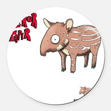 Senor Tapir white Round Car Magnet