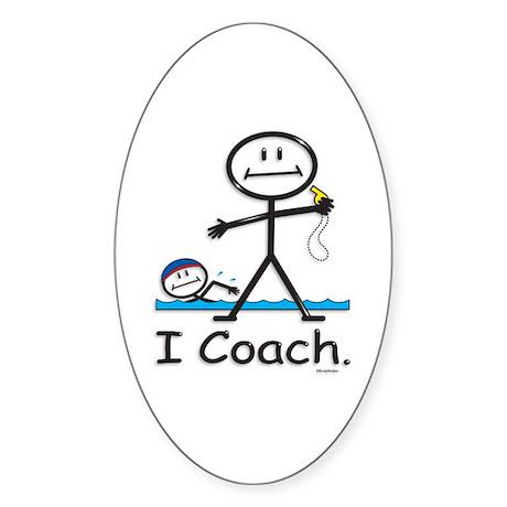 Swimming Coach Oval Sticker