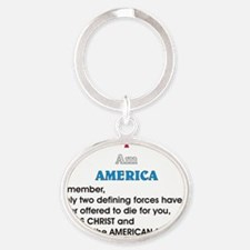 JC and soldier 2 Oval Keychain