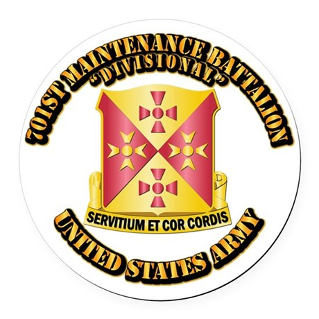 701st Maintenance Bn with Text Round Car Magnet