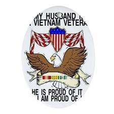 HUSBAND VET RIBBONS Oval Ornament