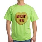 Naughty Girl Valentine Heart Green T-Shirt