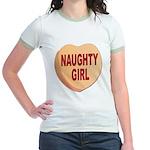 Naughty Girl Valentine Heart (Front) Jr. Ringer T-