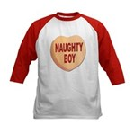 Naughty Boy Valentine Heart (Front) Kids Baseball