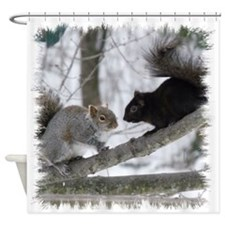 Black Squirrel Shower Curtain