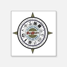 "zodiac compass8 Square Sticker 3"" x 3"""