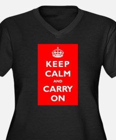KEEP CALM and CARRY ON - Women's Plus Size V-Neck