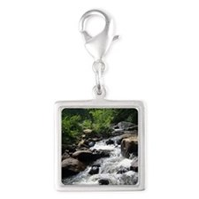 Rough waters Silver Square Charm