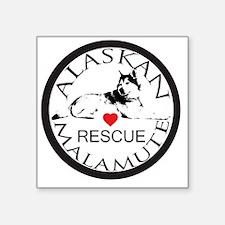 """MALAMUTE RESCUE WITH HEART Square Sticker 3"""" x 3"""""""