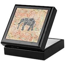 Tribal Paisley Elephant Colorful Henn Keepsake Box