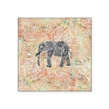 "Tribal Paisley Elephant Col Square Sticker 3"" x 3"""