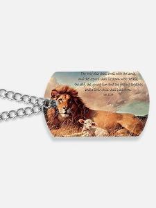 greeting card lion and lamb Dog Tags