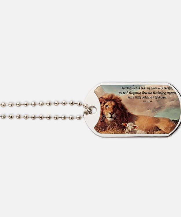 greeting card lion and lamb Dog Tags