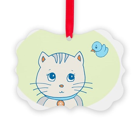 Twiggy cat n bird pal Picture Ornament